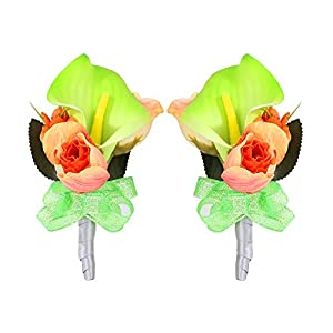 Febou Boutonniere Pack of 2 Calla Lily Wedding Boutonniere for Groom Bridegroom Groomsman Perfect for Wedding, Prom, Party (Boutonniere, B-Green) 13