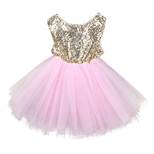 IWEMEK Baby Girls Princess Shinny Sequins Tulle Lace