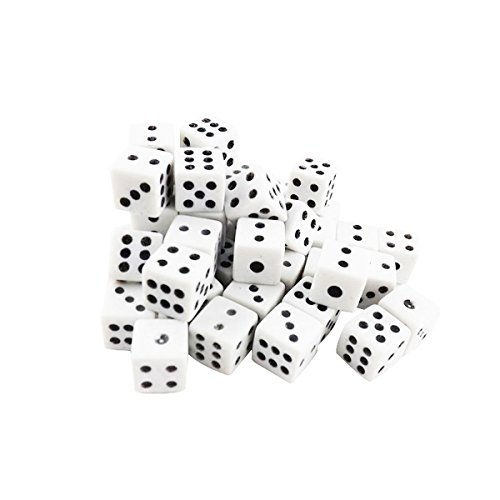 (Tytroy 100 Pack Opaque 16mm White Black Dots Square Cube Dice Set Casino Party Favor Board Games )