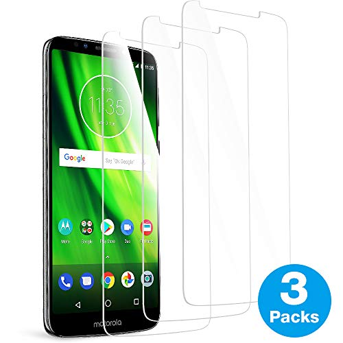 [3 Pack] MEGIVEZ Compatible for Moto G6 Play Screen Protector, Tempered Glass [Bubble-Free] HD Clear Anti Scratch Film for Moto G6 Play Phone with Lifetime Replacement Warranty