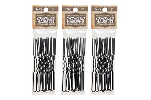 Hairpins 3 Inch Crinkled Stainless Steel SILVER Heavy Duty Snagless 3 Packs (36 PINS) Handmade Hair Pin