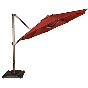 Abba Patio 11-Feet Offset Cantilever Umbrella Outdoor Patio Hanging Umbrella with Cross Base and Umbrella Cover, Red