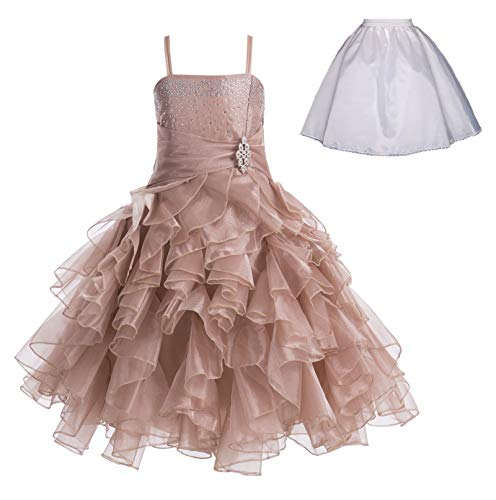 ekidsbridal Elegant Stunning Rhinestone Organza Pleated Ruffled Flower Girl Dress Free Petticoat 164s 4 Rose Gold