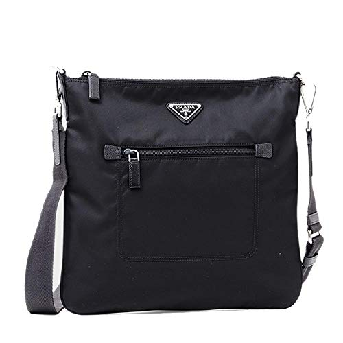 (Prada Tessuto Nylon Messenger/Crossbody 1BH716 Black Messenger Bag)