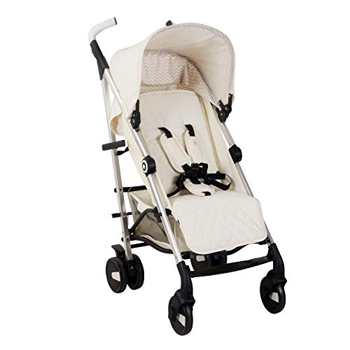 My Babiie US51 Cream Stroller - Lightweight Baby Stroller with Carry Handle - Silver Frame and Cream Canopy - Lightweight Travel Stroller - Suitable from Birth
