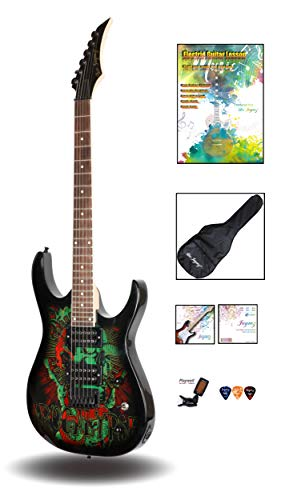 Leo Jaymz Heavy Metal Style Electric guitar – Apocalypse Theme Graphic Design with Sunburst Color – Super Light Nickel Wound String Set Installed