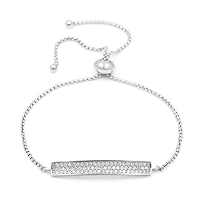"Zen Styles Women's Bolo Bracelet CZ Diamonds Pave, Rounded Box Link Chain Slider, Adjustable Size Fits 6"" - 8"" Wrists, Goldtone or Silvertone"