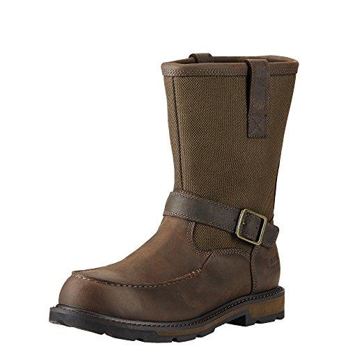 Ariat Men's Groundbreaker Moccasin Toe H2O Work Boot, Dark Brown/Dark Olive Cordura, 10.5 2E US by Ariat (Image #1)
