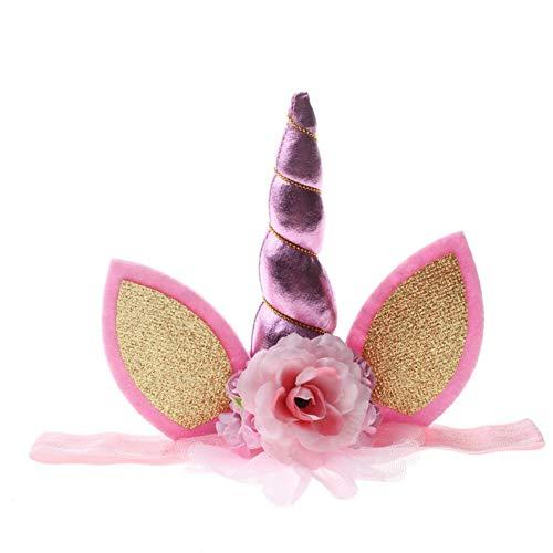 MFNXJ Babiqu 1pc Lovely Elastic Flower Lace Unicorn Horn Decoration Girls Decorative Party Decoration Halloween Costume Plush -