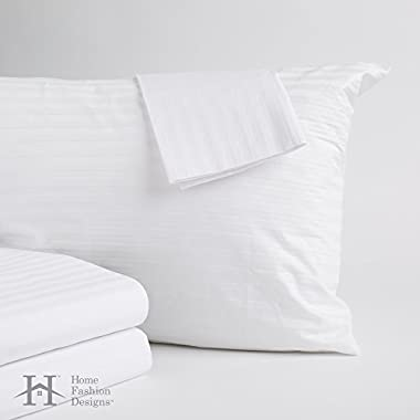 4-Pack Premium Allergy Pillow Protectors. Hypoallergenic Dust Mite & Bed Bug Resistant Anti-Microbial 400 Thread Count 100% Cotton Zippered Pillow Covers. By Home Fashion Designs Brand. (Standard)