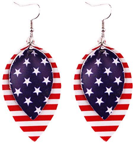 Styles I Love Women Girls Handmade Lightweight Leather Teardrop Leaf American Flag Dangle Earrings (2 Layered Leaf)