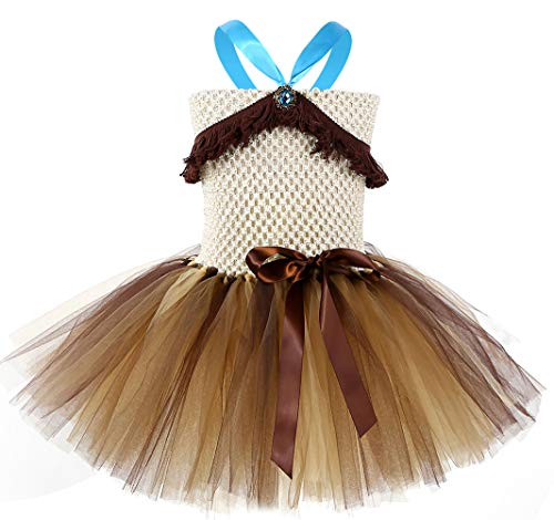 Tutu Dreams Indian Girl Princess Dress with Tassel Halloween Carnival Dress Up (Pocahontas, M) -