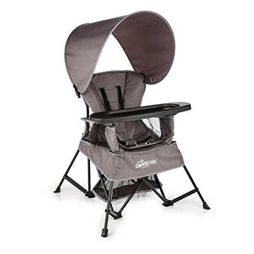 Baby Delight Go with Me Chair | Indoor/Outdoor Chair with Sun Canopy | Gray | Portable Chair converts to 3 Child Growth Stages: Sitting, Standing and Big Kid | 3 Months to 75 lbs | Weather Resistant ()