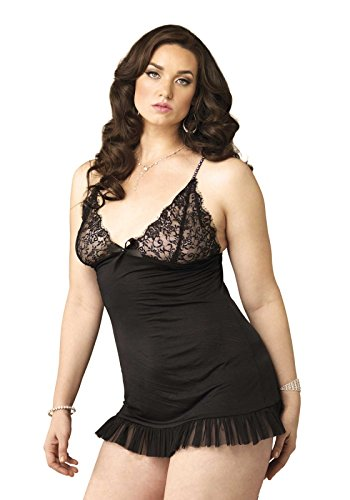 Leg Avenue Women's Plus Size 2 Piece Spandex Chemise With Faux Rhinestone Straps And G-String Set, Black, 1X-2X