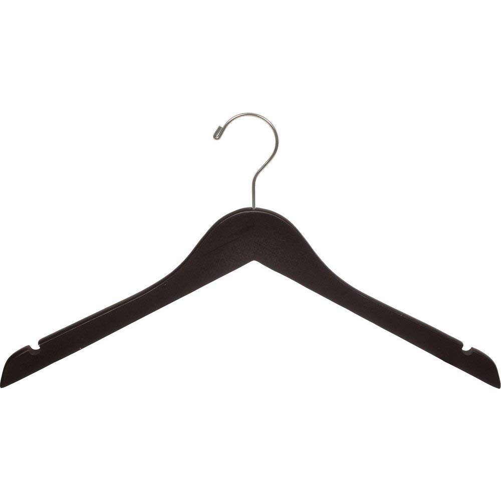 The Great American Hanger Company Wood Top Hanger, Box of 100 Space Saving 17 Inch Flat Wooden Hangers w/Espresso Finish & Brushed Chrome Swivel Hook & Notches for Shirt Jacket or Dress