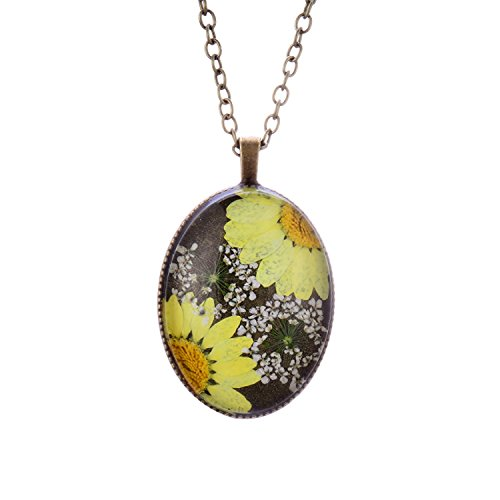 FM FM42 Bronze-tone Yellow Queen Anne's Lace Daisy Pressed Flowers Oval Pendant Necklace FN4204 ()
