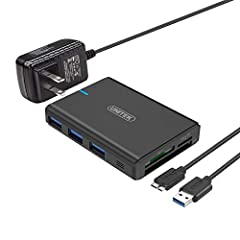 The UNITEK Multi-in-1 USB 3.0 hub with card reader is designed for laptop, tablet, ultrabook and expands one USB 3.0 super speed port into three easily.  Compliant with BC1.2 could supply up to 1.5A and charge your iPhone, Samsung, LG smartph...