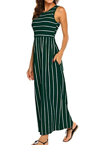 Hount Women's Summer Sleeveless Striped Flowy Casual Long Maxi Dress with Pockets (Green, Large)