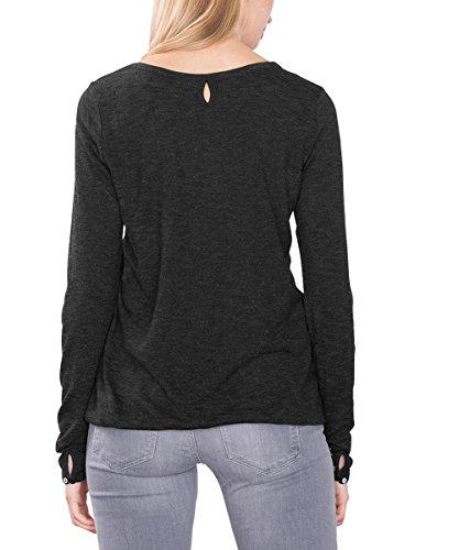 ESPRIT Mit Schlitz Im Nacken, Camisa para Mujer Negro (BLACK 001)