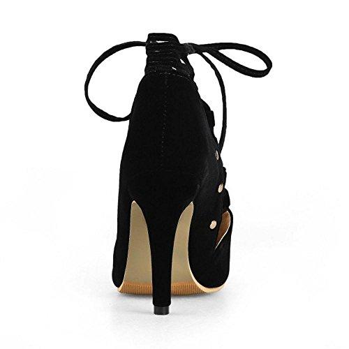 JOJONUNU Lacets Black Sandales Ete Femmes rrvqwR