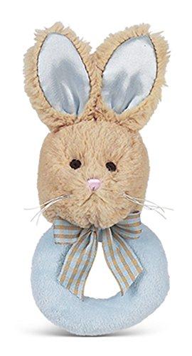 - Bearington Baby Lil' Bunny Tail Blue Plush Stuffed Animal Soft Ring Rattle, 5.5
