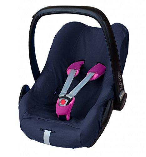 ByBoom® - Universal Sommerbezug, Schonbezug aus 100% Baumwolle, für Babyschale, Autositz, z.B. Maxi Cosi CabrioFix, City, Pebble; Designed in Germany, MADE IN EU, Farbe:Dunkelblau