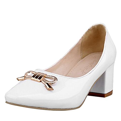 Carol Style Shoes Bows Heel New White Mid Metal Women's Court Shoes rwrgR