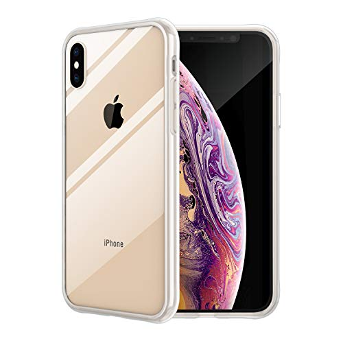 Vemsoul iPhone Xs Max Case, Clear Tempered Glass Back and Premium Silicon Bumper, iPhone Xs Max 6.5 inch Full Protective Transparent Case (Clear Glass) -