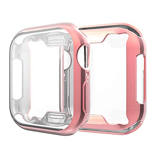 Coobes Compatible with Apple Watch Case Series 4 44mm 40mm, Ultra-Thin TPU Plating Bumper with Clear Screen Protector Full Cover Shell Slim Lightweight Frame Compatible iWatch (Rose Gold, 40mm)