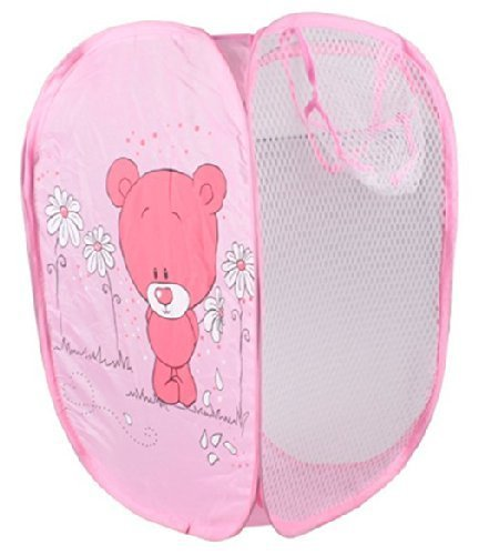 JISTL Super Cute - Foldable Pop Up Hamper, Laundry Basket or Toy Chest for Storage - Cartoon Theme - Red Bear (Pink)