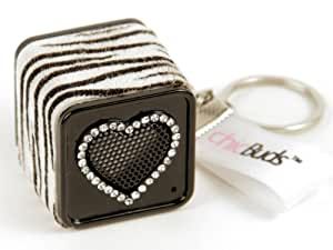 Chicboom Keychain MP3 Speaker Cube Zebra Crystal Studded Heart Chicbuds