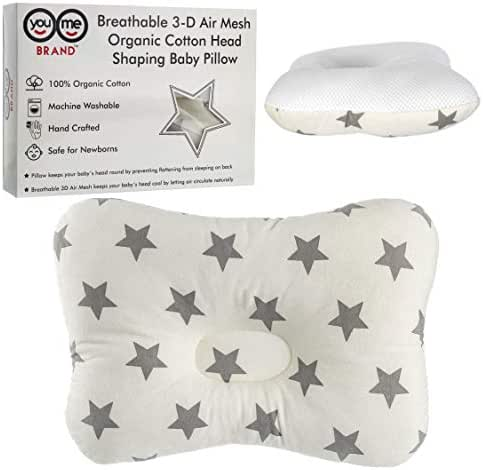 Baby Pillow Head Shaping Protects Head from Flattening - Infant Head Shaping - Star Pattern - 3D Air Mesh - Breathable - Organic Cotton - Travel Friendly