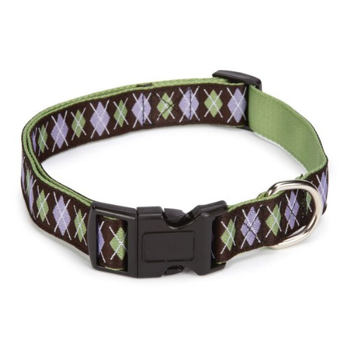 East Side Collection Polyester Academy Argyle Dog Collar, 6 to 10-Inch, Chocolate
