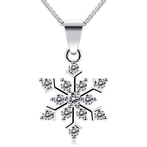 B.Catcher Collar Mujer 925 Plata de Ley Copo de Nieve ''La Reina de la nieve'' con Para Regalo San Valentín Originales Cadena 45cm Longitud a buen precio