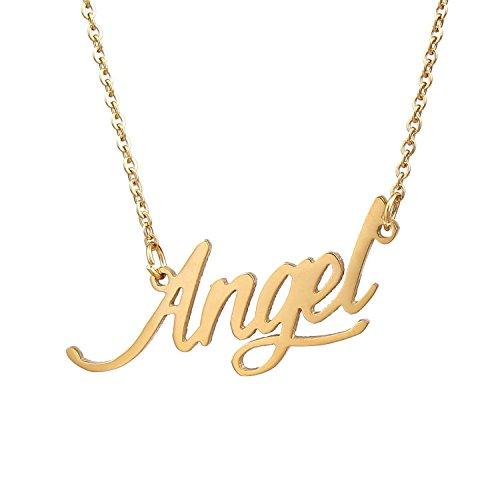 HUAN XUN Gold Color Plated Carrie Design Necklace, Angel