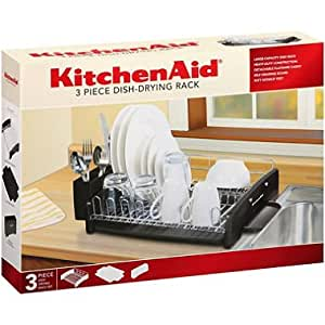 kitchenaid 3 piece dish drying rack black dish rack and drainboard set. Black Bedroom Furniture Sets. Home Design Ideas