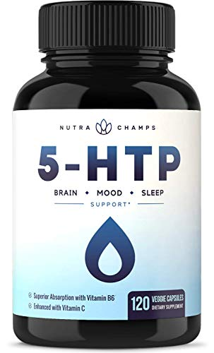 5-HTP 200mg Supplement - 120 Capsules - Naturally Supports Brain, Mood & Sleep - Calm & Relaxing Serotonin Boost - 100mg Pills Enhanced with Vitamin B6 & Vitamin C for Superior Absorption & Results