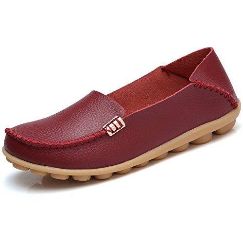 Shibever Kvinna Läder Loafers Andas Skor Vilda Körning Slip På Tillfälliga Lägenheter Oxfords Vinrött