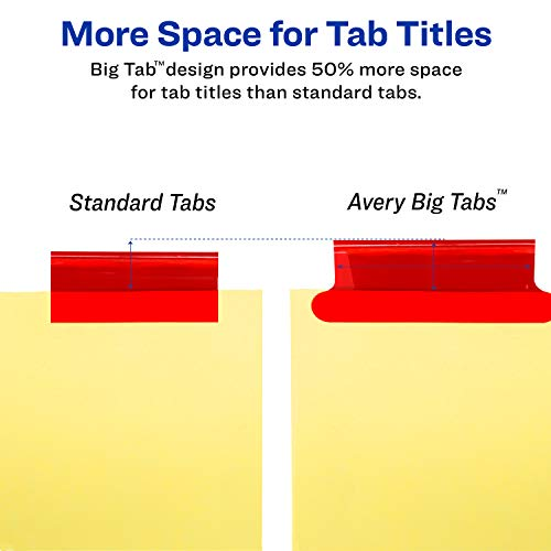 avery 8 tab binder dividers insertable multicolor big tabs 1 set 11111