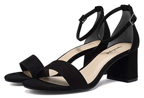 (EYUSHIJIA Women's Chunk Low Heel Pump Sandals (6 M US, Black))