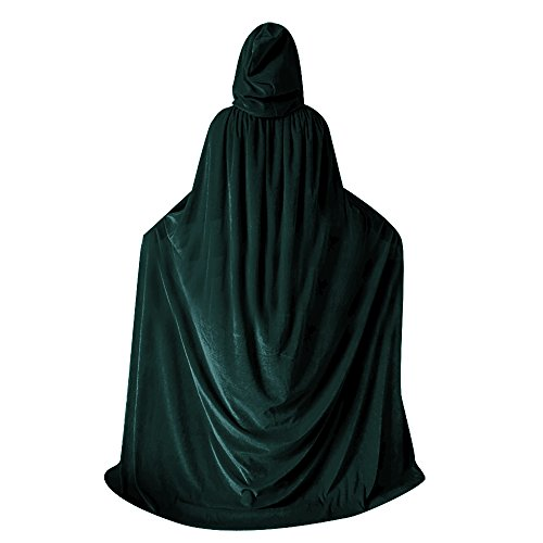 QBSM Women Men Green Halloween Velvet Cloak Witch Wizard Costume Hooded Party Raven Cosplay Capes Adult