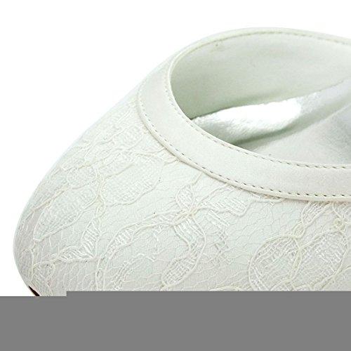 Minitoo Ladies Almond Toe Handmade Retro Lace Bridal Wedding Evening Shoes Ivory-5cm Heel 5ay4Wqs