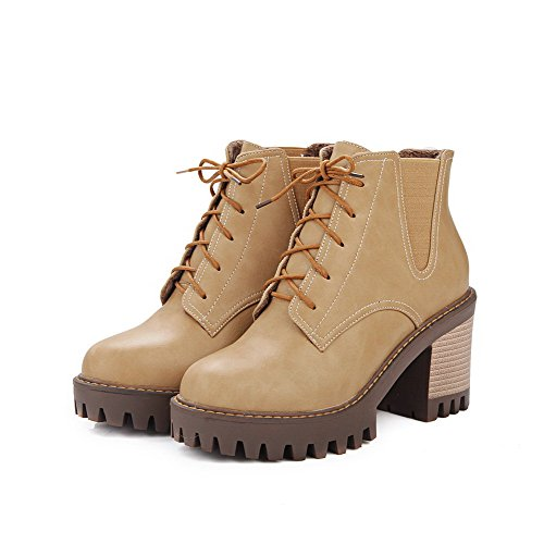 AllhqFashion Womens Lace Up Round Closed Toe High Heels Low Top Boots Apricot T9E2C