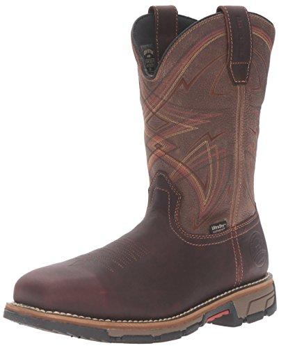 Irish Setter Work Men's Marshall 83930 Pull-On Steel Toe Work Boot, Brown/Olive Green, 11 D US