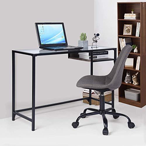 Aingoo Scrivania per ufficio, scrivania Scrivania per Computer con tavolo in vetro e ripiano in Legno per ufficio a casa, 100 * 40 * 75 cm