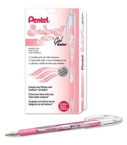 (Pentel Sunburst Metallic Gel Pen, 0.8mm Tip Writes 0.4mm Line, Pink/Transparent Barrel Pink Ink, Box of 12 (K908-MP))