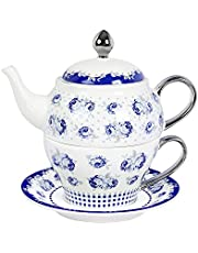 fanquare Porcelain Tea for One, Blue Roses and Polka Dots Teapot with Cup,Saucer