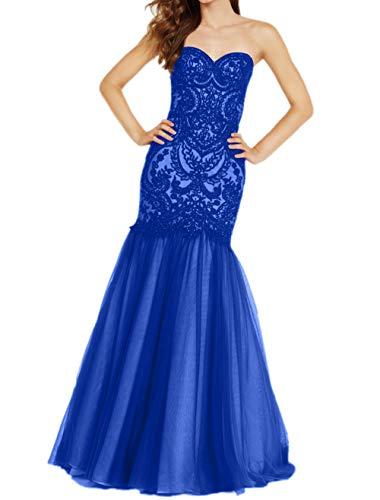 Festlichkleider Partykleider Royal La Braut Ballkleider Blau Traegerlos Meerjungfrau Abendkleider Spitze Etuikleider mia Herzausschnitt n88xqArPY