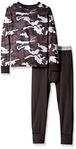 Fruit of the Loom Boys' Little Active Performance Thermal Underwear Set, Camo/Rich Black, 4/5