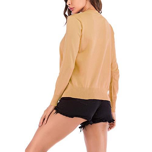 para Rayas Abrigo de de PAOLIAN Señora de Hueco Prendas Cárdigans de otoño Primavera Moda Chaquetas Mujer Ropa Mujer Fiesta de Amarillo b Elegantes Invierno Punto Cortas otoño 7Xgqwxvq